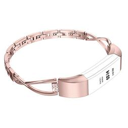 Wearlizer Compatible Fitbit Alta Bands Small Silver Rose Gol