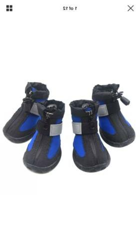 4pcs x paw protector blue dog shoes