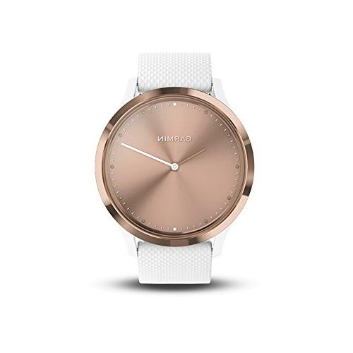 Garmin Hybrid Smartwatch and Women, Small/Medium, Rose Gold With White Silicone Band