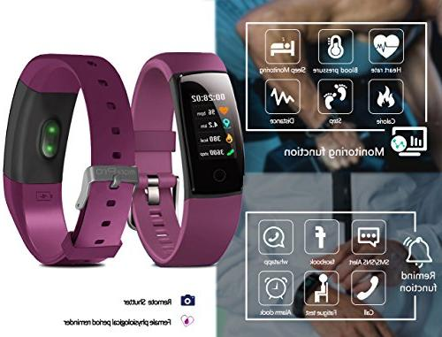 MorePro Waterproof Tracker, Fitness Sport with Heart Rate Pressure Pedometer Monitor Call/SMS Remind Smartphones
