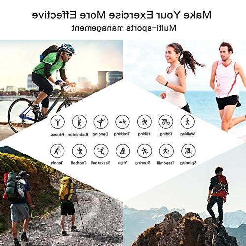 Rate Monitor Smart with Pedometer Sleep Monitor, Counter, GPS, IP67 Waterproof Activity for Smartphone