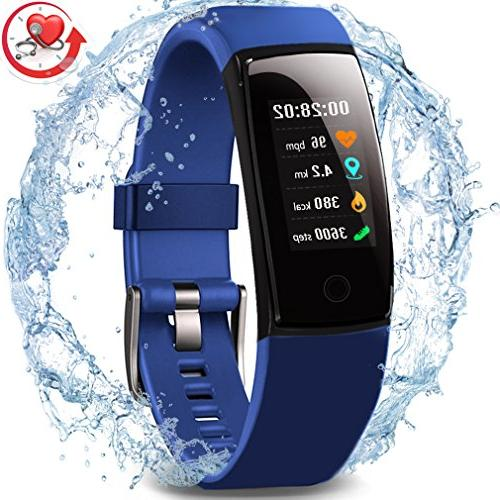 Waterproof Health Tracker Color Screen Smart Watch,Activity Tracker Heart Call/SMS for Gift.
