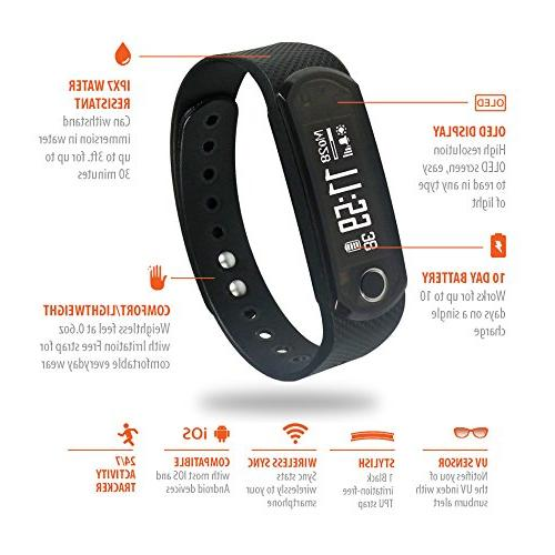 Jarv Elite IPX7 water resistant Fitness Activity with OLED Wireless and Day