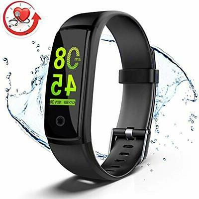 Fitness Tracker Activity With Heart Rate Blood Pressure Monitor, BLACK