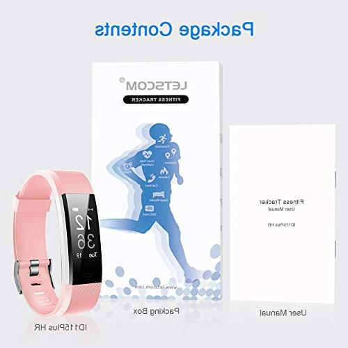 LETSCOM Fitness Activity Heart Monitor, Waterproof Smart Fitness Step Calorie Counter, Pedometer for Women and