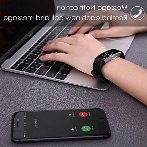 Bracelet Tracker with Rate Monitor Monitor for iPhone Android Black