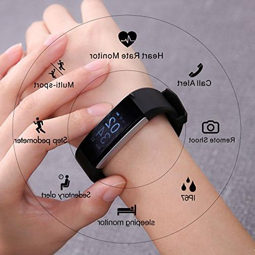 Fitness Tracker Bracelet Tracker Heart Rate Bluetooth with Monitor Smart Watch for Black