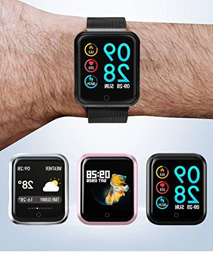 Bchance Fitness Band Heart Blood Pressure Monitor Watch Reminder for Android Black