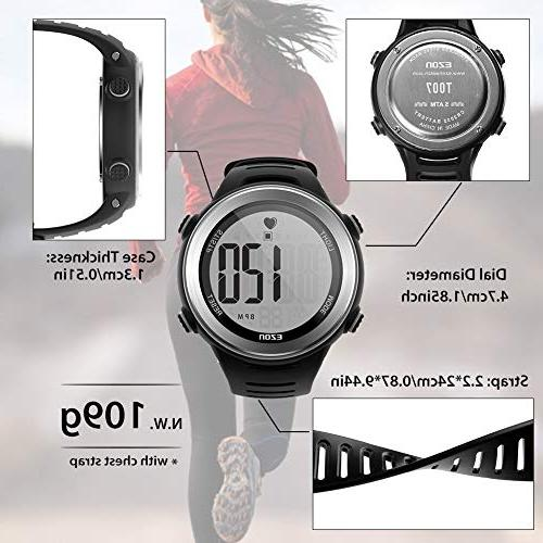 EZON Heart Monitor Sports Watch with HRM Chest Strap,Waterproof,Stopwatch,Hourly Chime