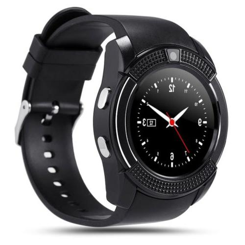 v8 smart watch phone touch bluetooth wrist