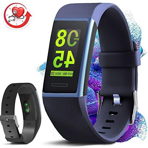 MorePro X-Core Fitness Tracker HR, Waterproof Color Activity with Smart Wristband with Calories Counter, Blue