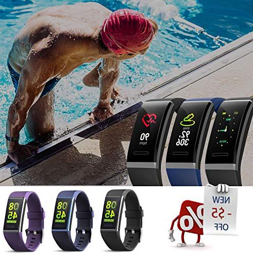 MorePro Fitness Tracker HR, Waterproof Color Activity Tracker with Heart Rate Blood Pressure Smart Pedometer with Blue