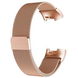 POY Metal Replacement Bands Compatible for Fitbit Charge 3 a