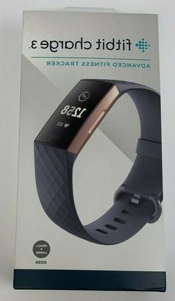 New Fitbit Charge 3 Advanced Activity Tracker Blue Gray/Rose
