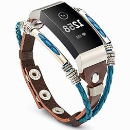 Marval.P Compatible for Fitbit Charge 3 Bands, Handmade Leat
