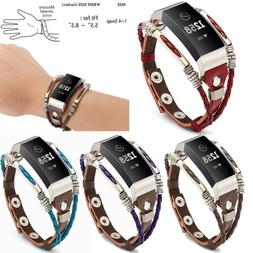 Unique Leather Wristband Band Strap Bracelet For Fitbit Char